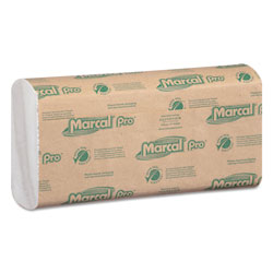 Marcal 100% Recycled Folded Paper Towels, 12 7/8x10 1/8,C-Fold, White,150/PK, 16 PK/CT