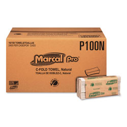 Marcal Folded Paper Towels, 1-Ply, 10 1/8 in x 12 7/8  in, 150/Pack, 16 Packs/CT