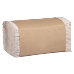 Marcal 100% Recycled Folded Paper Towels, 1-Ply, 8.62 x 10 1/4, Natural, 334/PK,12PK/CT