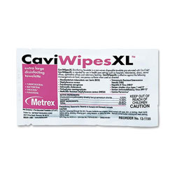 Metrex Disinfectant Wipes, X-Large, Individual Packs, 10 in x 12 in, 50/BX