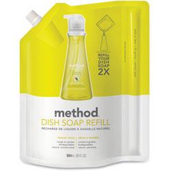 Method Products Dish Soap Refill, Lemon Mint, 36 oz Pouch, 6/Carton