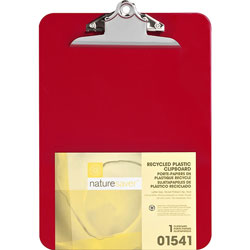 "Nature Saver Plastic Clipboard, 1"" Cap, 8 1/2""x12"", Red"