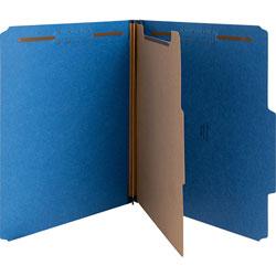 Nature Saver Classification Folders, w/ Fasteners, 1 Dvdr, Letter, 10/Box, Blue
