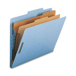 Nature Saver Classification Folders, w/ Fasteners, 2 Dividers, Letter, 10/Box, Beige