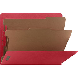 Nature Saver Classification Folder, End Tab, Letter, 2-Div, 10/BX, Red