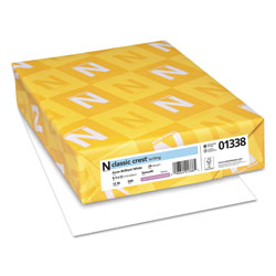 Neenah Paper CLASSIC CREST Stationery, 93 Bright, 24 lb, 8.5 x 11, Avon White, 500/Ream