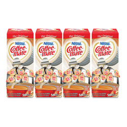 Coffee-Mate® Liquid Coffee Creamer, Original, 0.38 oz Mini Cups, 50/Box, 4 Boxes/Carton, 200 Total/Carton