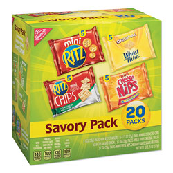 Nabisco Savory Variety Pack, Assorted Cracker Varieties and Sizes, 20/Carton