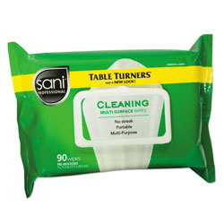 Nice-Pak Multi-Surface Cleaning Wipes, 11 1/2 x 7, White, 90 Wipes/Pack, 12 Packs/Carton