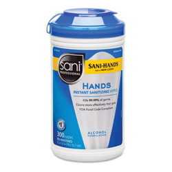Nice-Pak Hands Instant Sanitizing Wipes, 7 1/2 x 5, 300/Canister, 6/CT