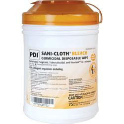 Nice-Pak Sani-Cloth Bleach Wipe, 6'x10-1/2 in, 75/Canister, White