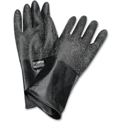 North Safety Products Butyl Chem Protection Gloves, Sz-8, 14 in, 17mil, 1/PR, BK