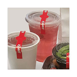 National Check SecureIT Tamper Evident Drink Lid Seal,  inSecure It in, 1 x 7, Red, 250/Roll, 2 Rolls/Pack