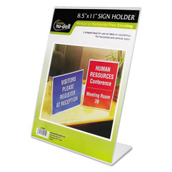 Nudell Plastics Clear Plastic Sign Holder, Stand-Up, Slanted, 8 1/2 x 11