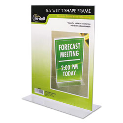 Nudell Plastics Clear Plastic Sign Holder, Stand-Up, 8 1/2 x 11