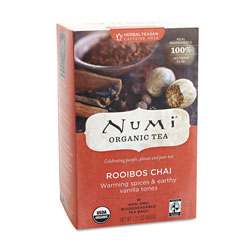 Numi Organic Teas and Teasans, 1.71 oz, Rooibos Chai, 18/Box