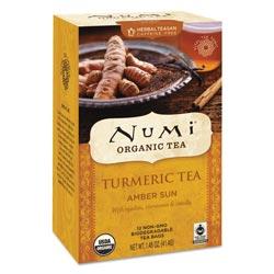 Numi Turmeric Tea, Amber Sun, 1.46 oz Bag, 12/Box