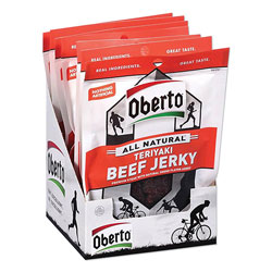 Oberto® All Natural Beef Jerky, Teriyaki, 1.5 oz Pouch, 8/Box