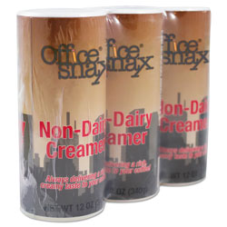 Office Snax Reclosable Powdered Non-Dairy Creamer, 12 oz Canister, 3/Pack