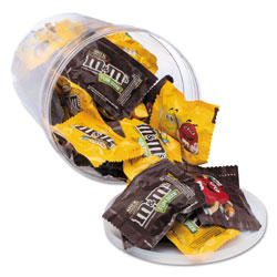 Office Snax Candy Tubs, Chocolate and Peanut MandMs, 1.75 lb Resealable Plastic Tub