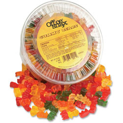 Ragold/Office Snax Gummy Bears, Assorted Flavors, 2 lb Tub