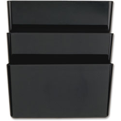 Officemate Wall File, Recycled, 3 Pockets, 3/PK, Black