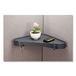 Officemate Verticalmate Plastic Corner Shelf, 13 x 13 x 1.5, Gray