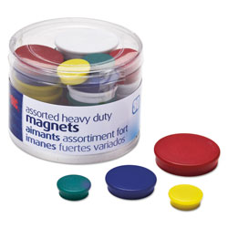 Officemate Assorted Heavy-Duty Magnets, Circles, Assorted Sizes & Colors, 30/Tub