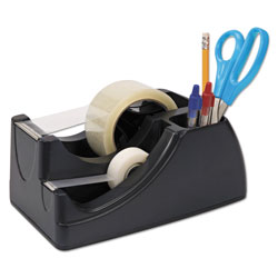 Officemate Recycled 2-in-1 Heavy Duty Tape Dispenser, 1 in and 3 in Cores, Black