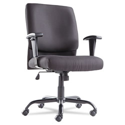 OIF Big and Tall Swivel/Tilt Mid-Back Chair, Supports up to 450 lbs., Black Seat/Black Back, Black Base