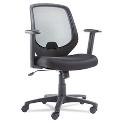 OIF Swivel/Tilt Mesh Mid-Back Chair, Supports up to 250 lbs., Black Seat/Black Back, Black Base