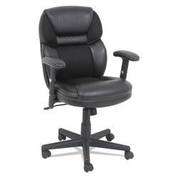 OIF Leather/Mesh Mid-Back Chair, Supports up to 250 lbs., Black Seat/Black Back, Black Base