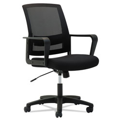 OIF Mesh Mid-Back Chair, Supports up to 225 lbs., Black Seat/Black Back, Black Base
