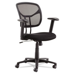 OIF Swivel/Tilt Mesh Task Chair with Adjustable Arms, Supports up to 250 lbs., Black Seat/Black Back, Black Base