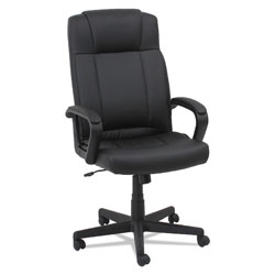 OIF Leather High-Back Chair, Supports up to 250 lbs., Black Seat/Black Back, Black Base