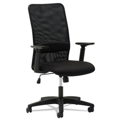 OIF Mesh High-Back Chair, Supports up to 225 lbs., Black Seat/Black Back, Black Base