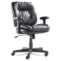 OIF Executive Bonded Leather Swivel/Tilt Chair, Supports up to 250 lbs, Black Seat/Back/Base