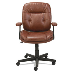 OIF Swivel/Tilt Leather Task Chair, Supports up to 250 lbs., Chestnut Brown Seat/Chestnut Brown Back, Black Base
