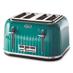 Oster 4-Slice Toaster with Textured Design with Chrome Accents, 12 x 13 x 8, Teal