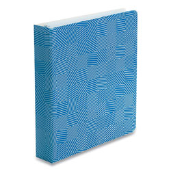 Oxford Punch Pop Fashion Binder, 3 Rings, 1.5 in Capacity, 11 x 8.5, Blue/White Labyrinth Design