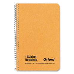 Oxford One-Subject Notebook, Narrow Rule, Kraft Cover, 5 x 8, 80 Green Tint Sheets