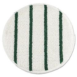 Rubbermaid Low Profile Scrub-Strip Carpet Bonnet, 19 in Diameter, White/Green, 5/Carton