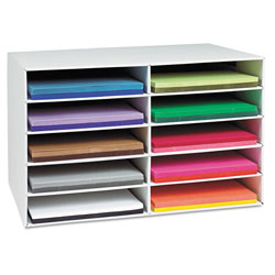 Pacon Classroom Construction Paper Storage, 10 Slots, 26 7/8 x 16 7/8 x 18 1/2