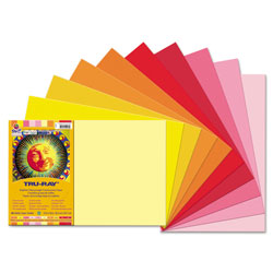 Pacon Tru-Ray Construction Paper, 76lb, 12 x 18, Assorted Cool/Warm Colors, 25/Pack