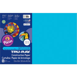 Pacon Construction Paper, 76lb, 12 in x 18 in, 50/PK, Atomic Blue