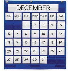 "Pacon Blue Monthly Calendar Pocket Chart, 25""x28"""