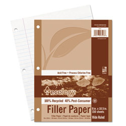 Pacon Ecology Filler Paper, 3-Hole, 8 x 10.5, Wide/Legal Rule, 150/Pack