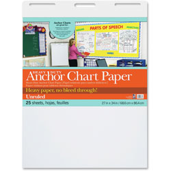 Pacon Anchor Chart Paper, Unruled, 24 in x 34 in, 25 Sheets, 4/CT, WE