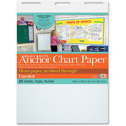 Pacon Anchor Chart Paper, Unruled, 24 in x 32 in, 25 Sheets, 4/CT, White
