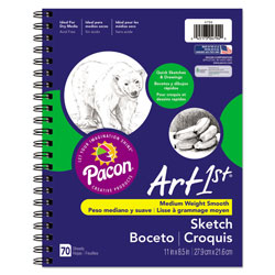Pacon Art1st Sketch Diary, 60 lb, 11 x 8.5, White, 70 Sheets